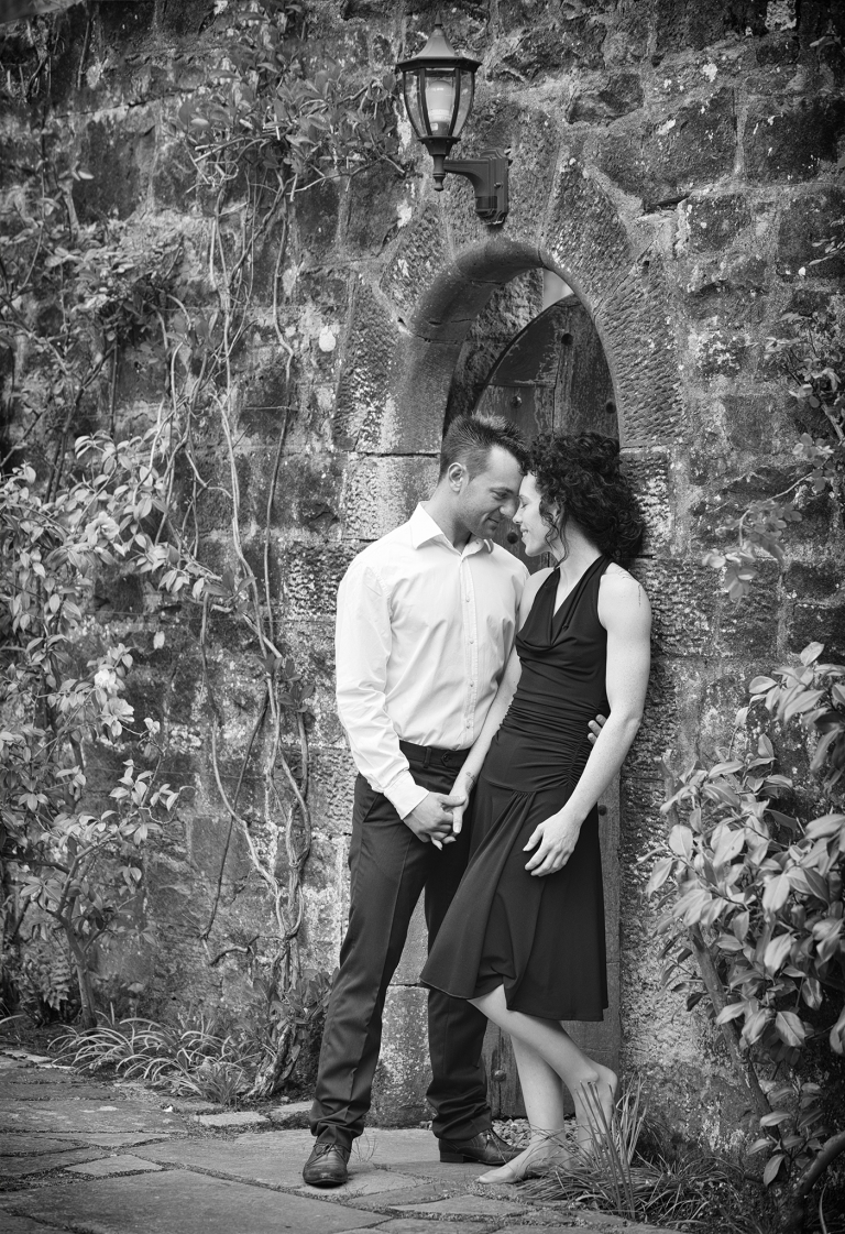 Couple in love by a wall