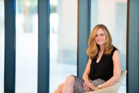 Natural light corporate portrait of female seated